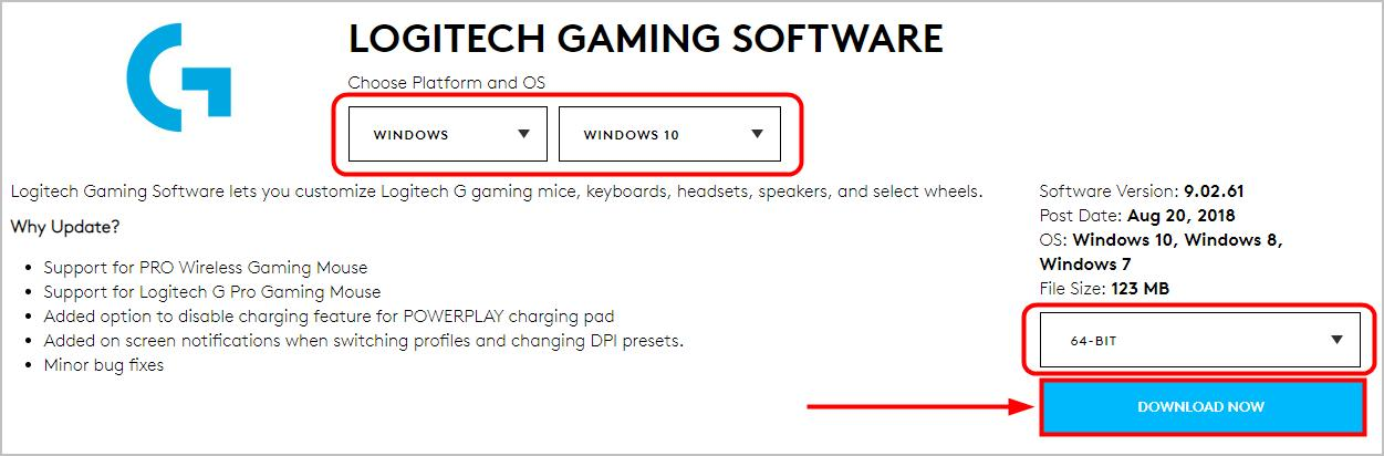 64 bit windows 10 operating system to download logitech gaming software