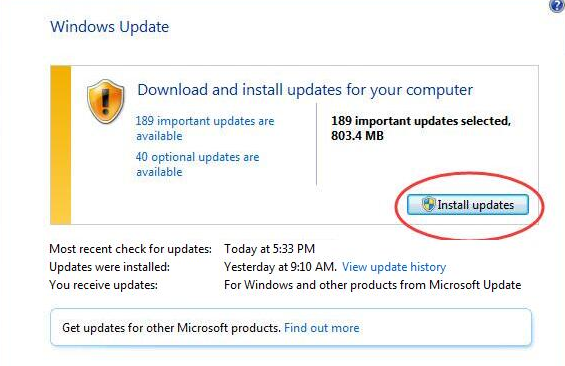 Click on Install updates in Windows