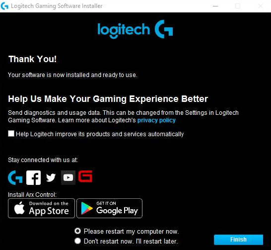 Logitech Gaming Software Installer Finish