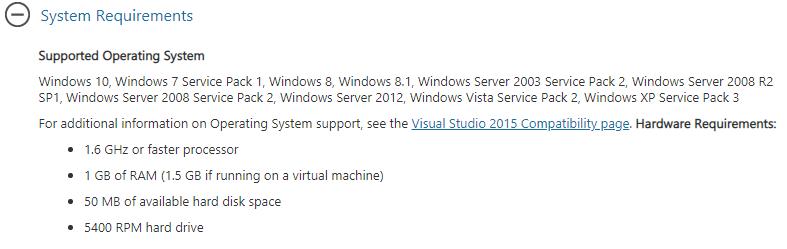 Visual C++ Redistributable System Requirement