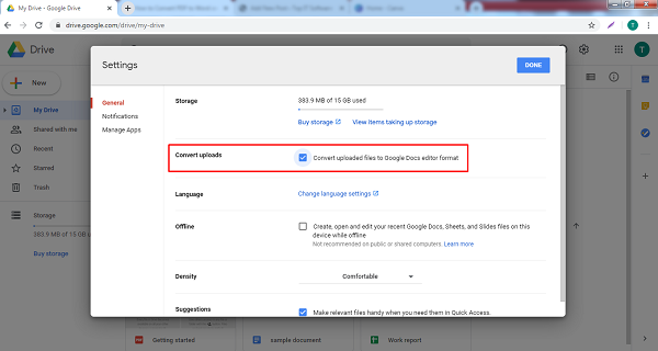 convert uploads in google drive