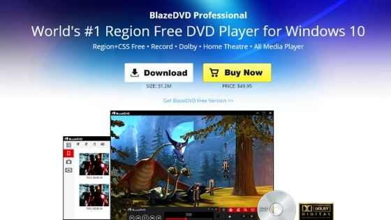 BlazeDVD - free dvd player for windows 10