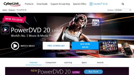 PowerDVD 20- free dvd player for windows 10