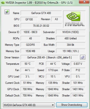 NVIDIA Inspector overclocking software