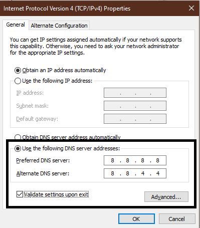 IPV4 setting