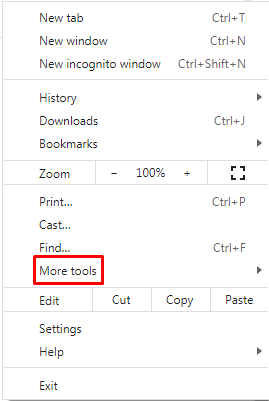 google chrome browser setting more tools
