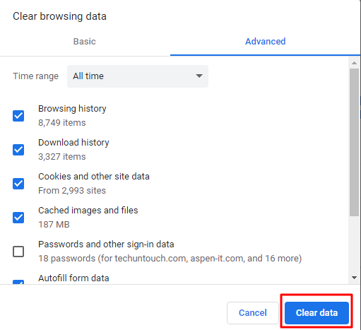 google chrome history clear browsing data