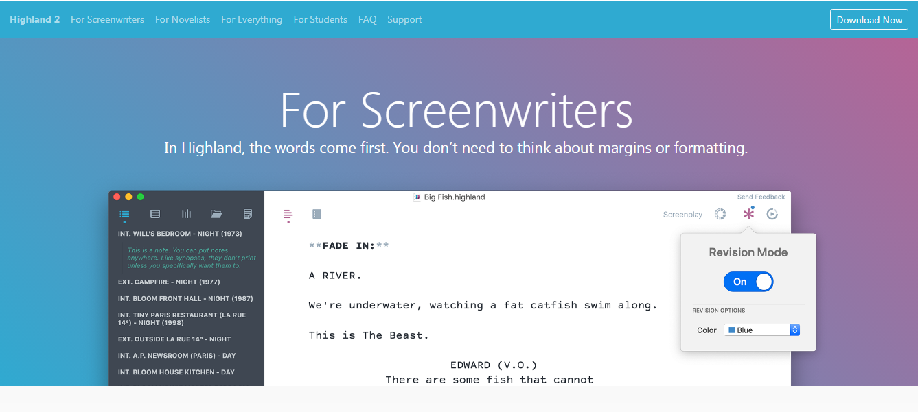 Highland 2 free screenwriting software