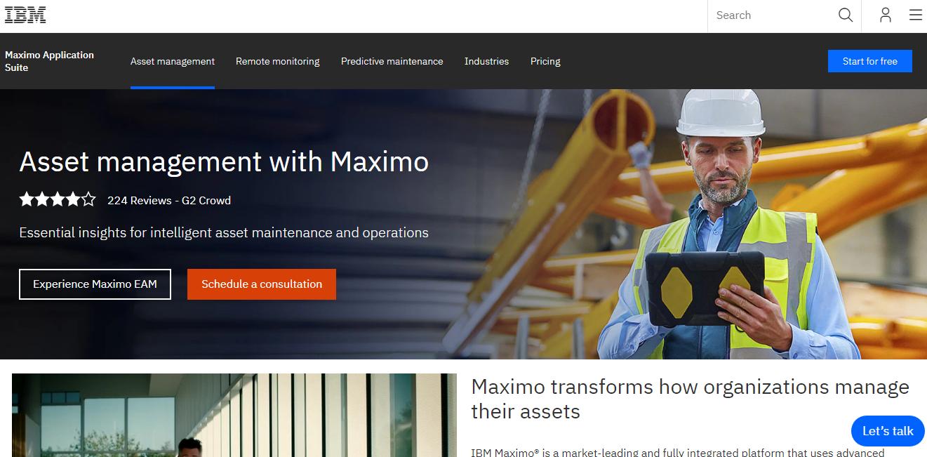 IBM Maximo asset management software