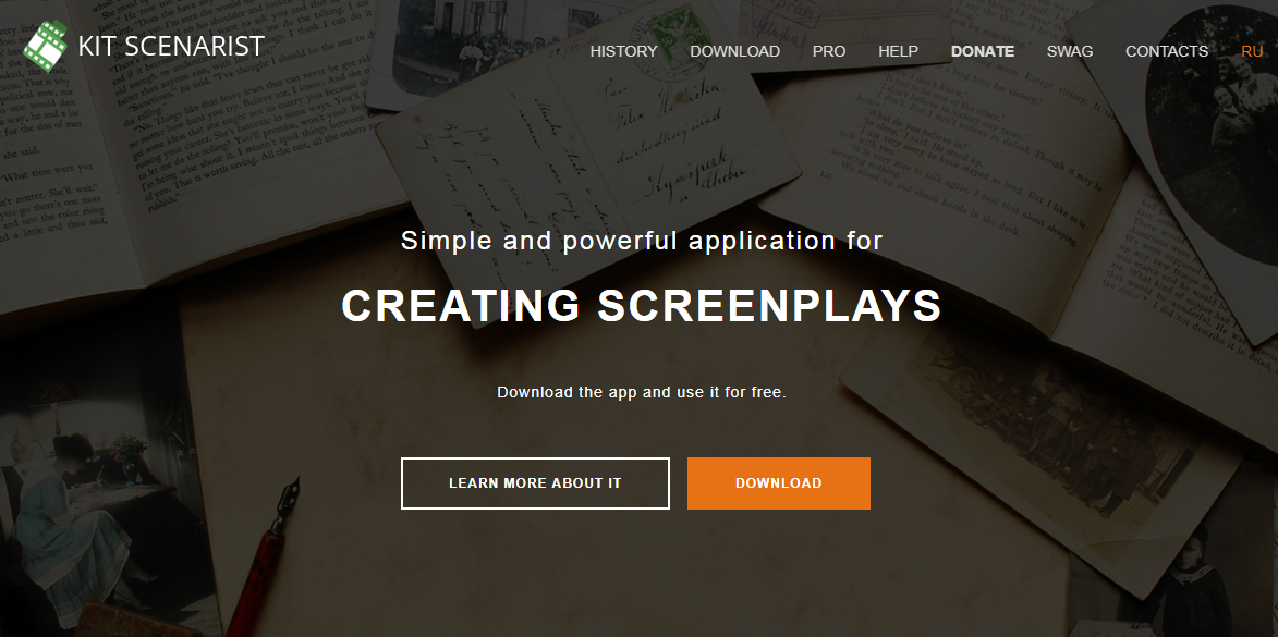 Kit Scenarist free screenwriting software