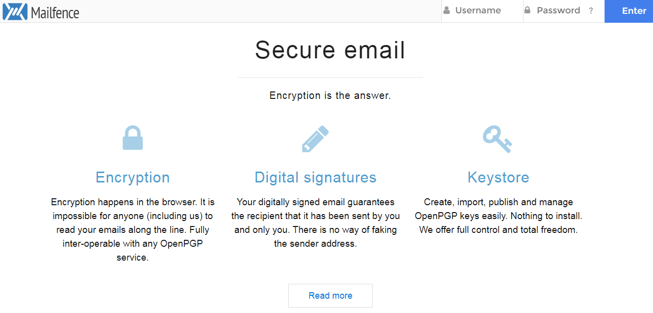 Mailfence secure email provider