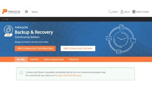 Paragon Backup & Recovery Free