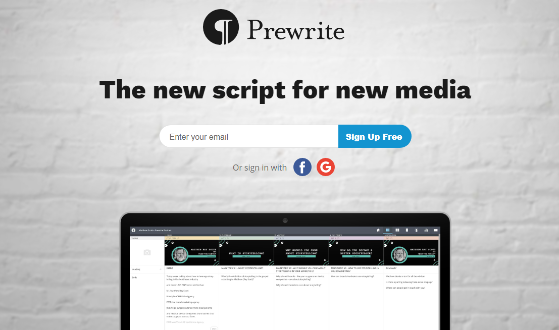 Prewrite script writing software