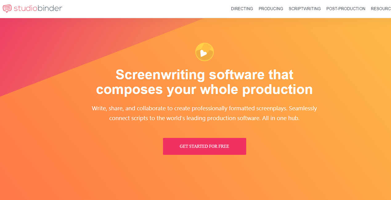 StudioBinder free screenwriting software