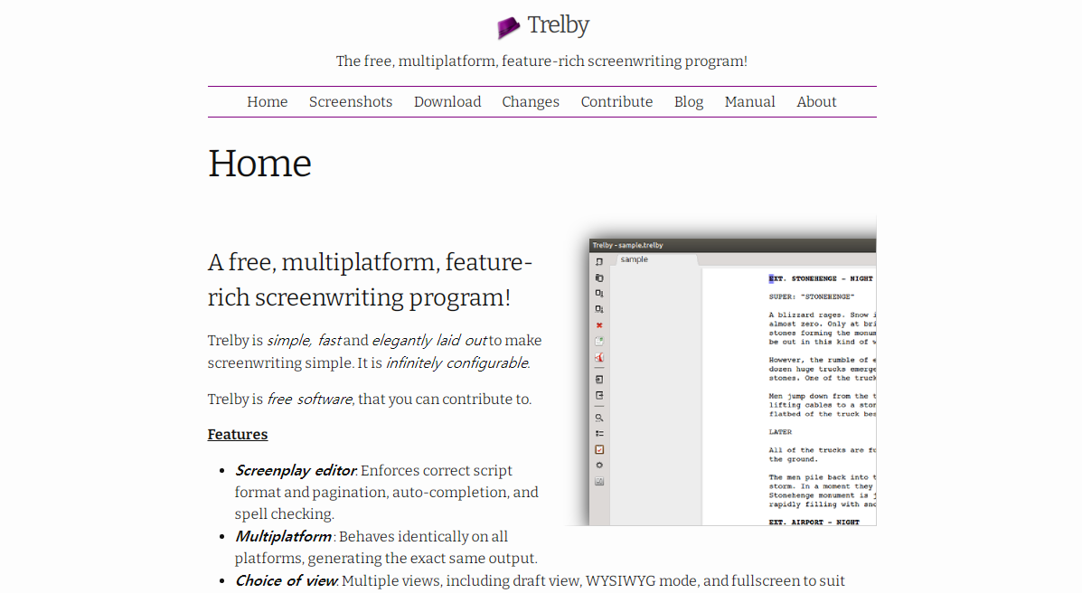Trelby free screenwriting software