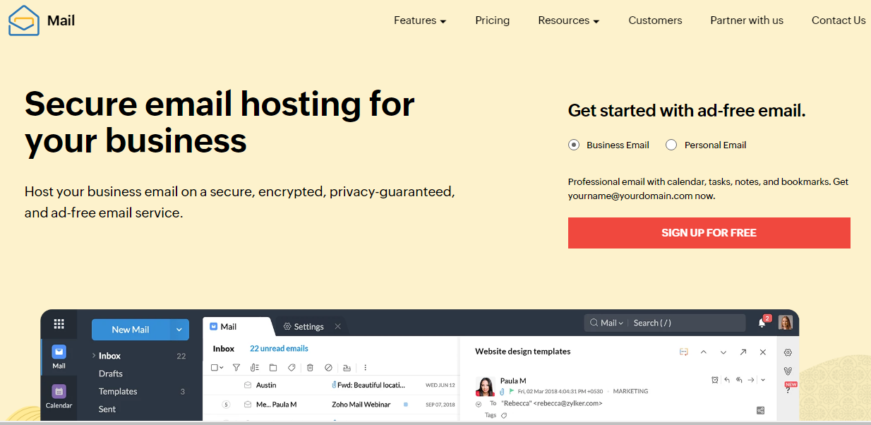 Zoho Mail secure email provider
