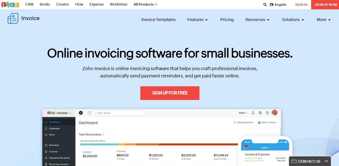 Zoho invoice Software