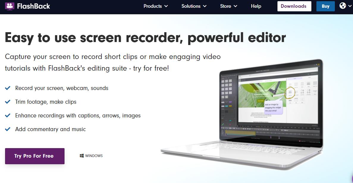 Flashback Express free webcam recording software