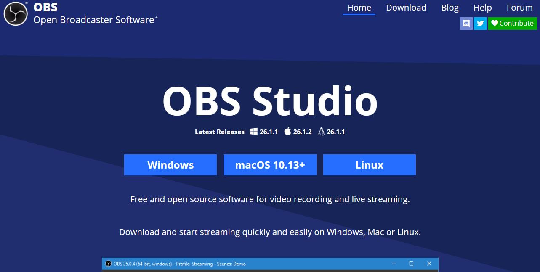 OBS Studio webcam recording software