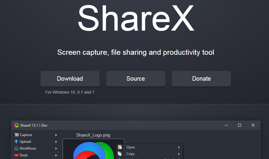 ShareX free webcam recording software