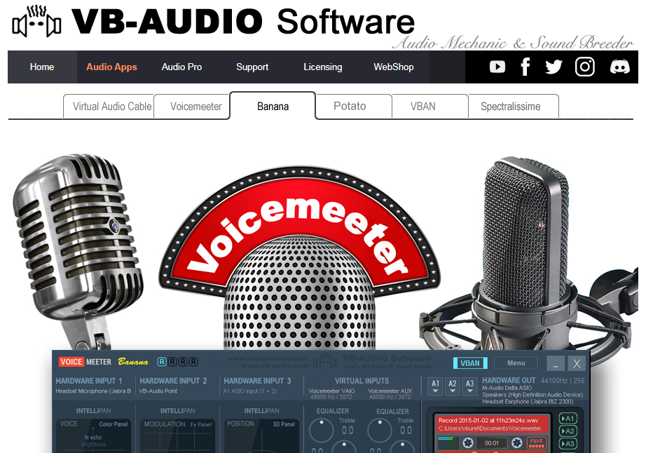 Voicemeeter Banana audio equalizer for windows 10