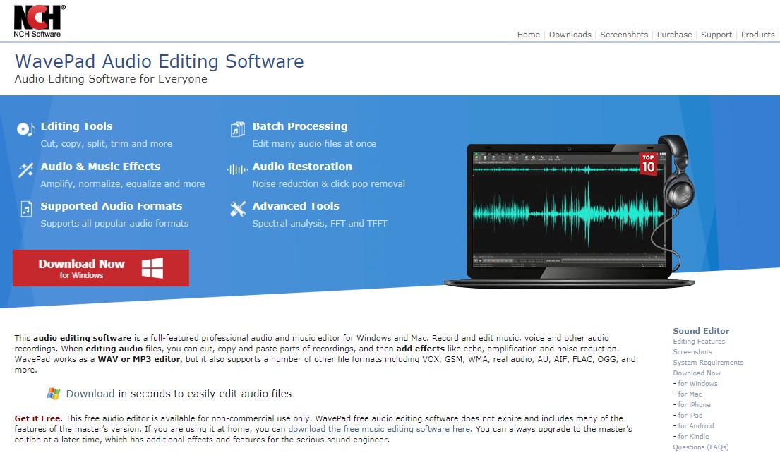 WavePad audio equalizer for windows 10