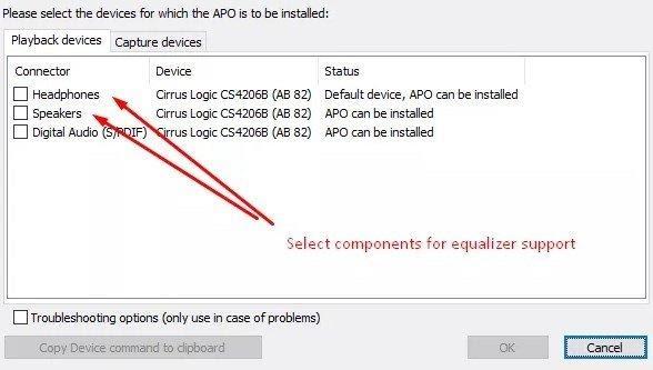 select APO install device