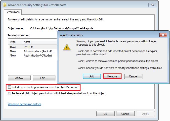 advanced security settings for crashreports windows security