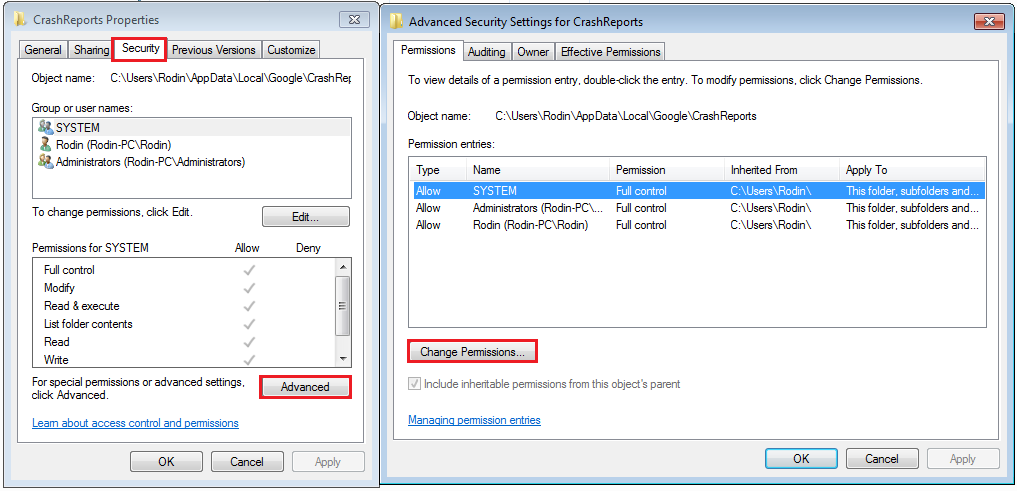 advanced security settings for crashreports