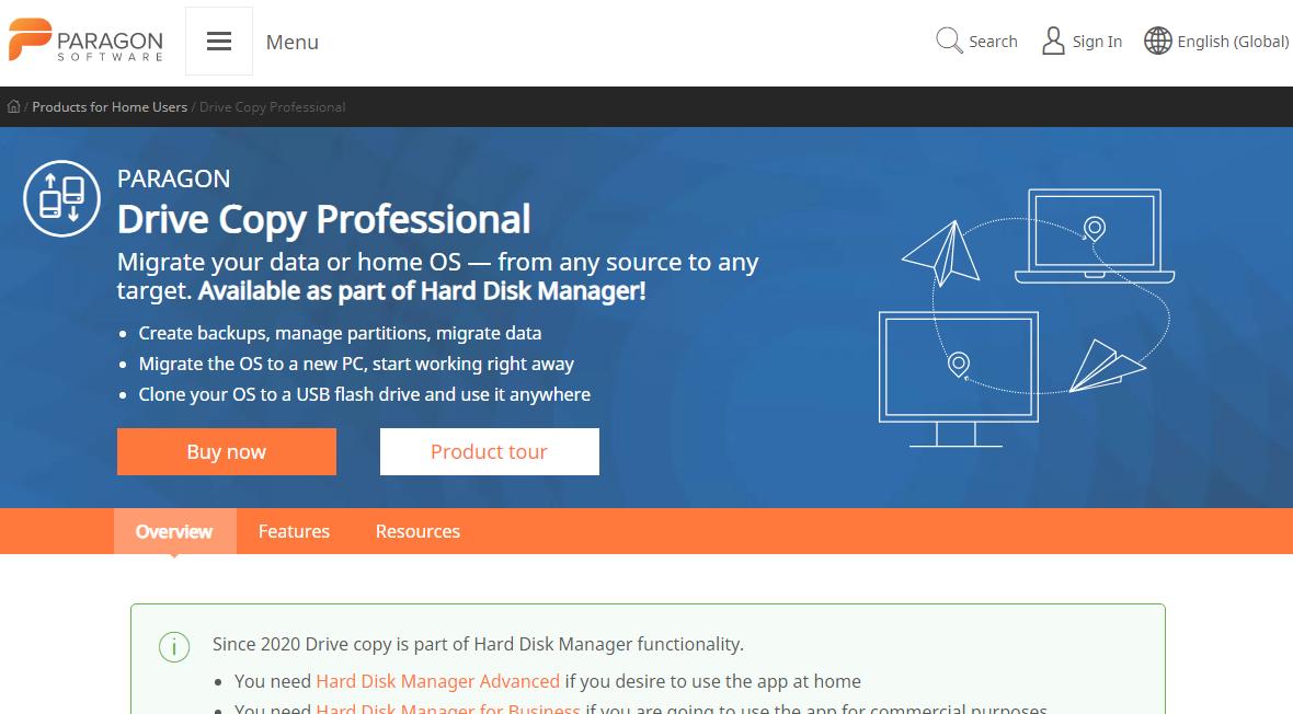 Paragon Drive Copy data migration software