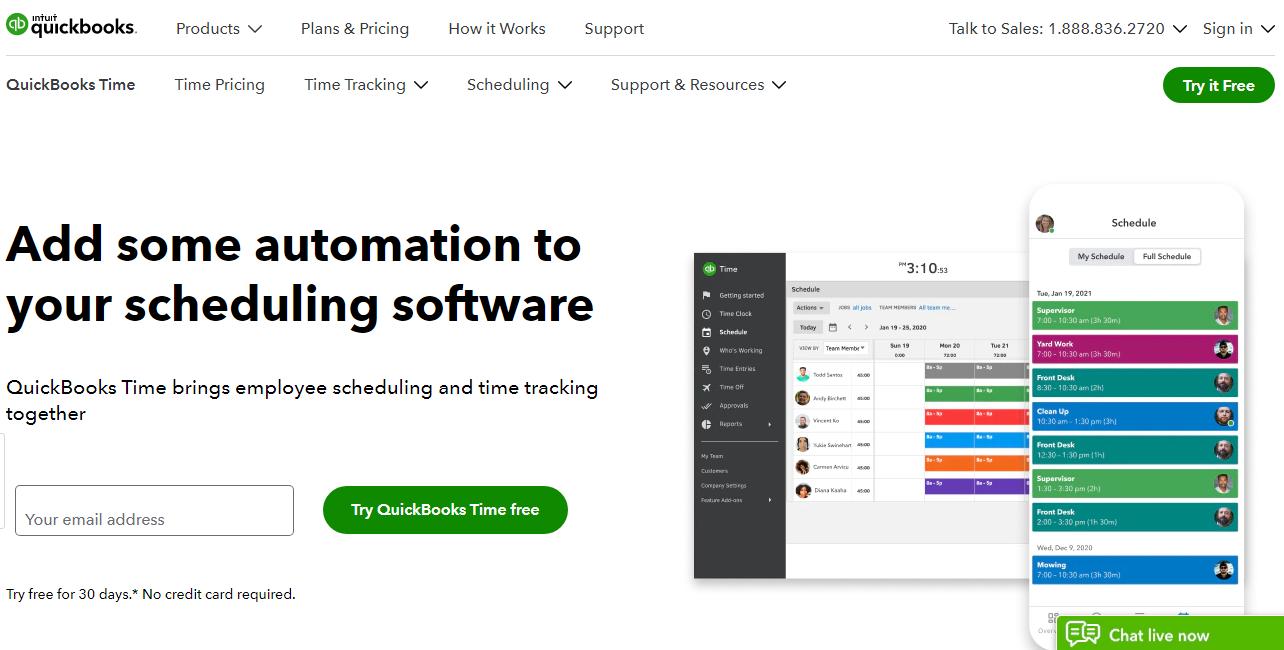 QuickBooks Employee Scheduling Software