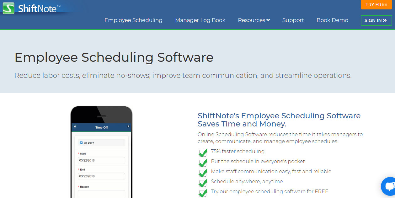 ShiftNote Employee Scheduling Software