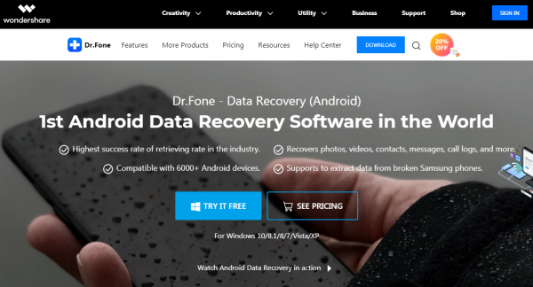 dr.fone android data recovery software