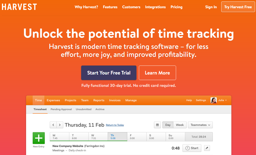 Harvest Easy Time Tracking Software