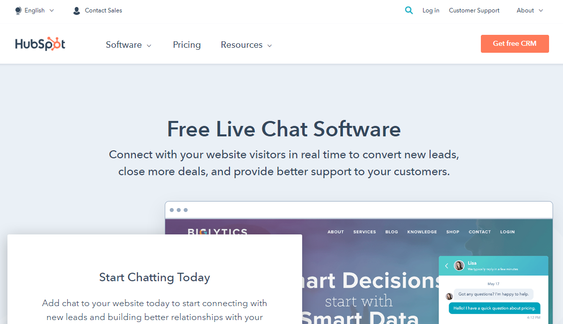 HubSpot Free Live chat Software